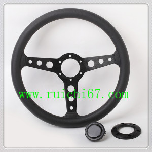 China Factory Brand New Universal Used Car Sports Style PU 360mm Leather Steering Wheel(5136)