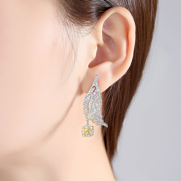 Crystal Animal Butterfly Wing Tassel Fashion Wholesale Copper Jewelry Design Zircon Dangle Chain Earring Stud Earrings For Women