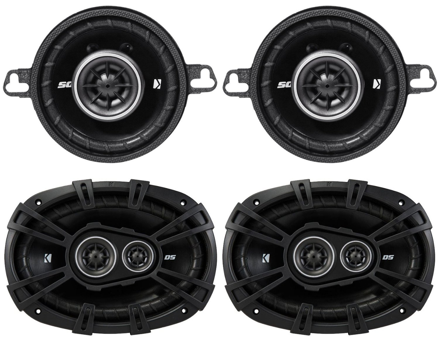 "Package: Pair of Kicker 43DSC69304 6""x9"" 360 Watt 3-Way Speakers With 4-Ohm Impedance + Pair of Kicker 43DSC3504 DSC350 80 Watt 3.5"" 2-Way Car Stereo Speakers"