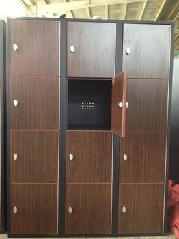 Wooden style locker 12 door with hook buy steel frame for 12 door lockers