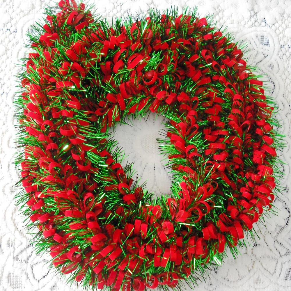 Christmas Tree With Red Ribbon: Free Shipping 1m Christmas Decoration Tinsel+Red Ribbon