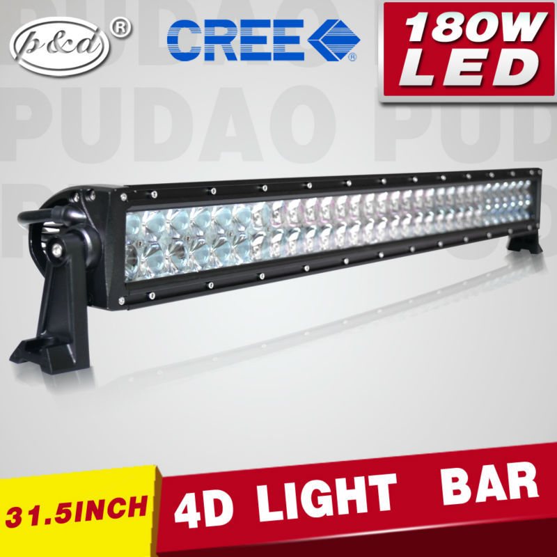Dual row 3w CR EE 4D reflector 180w 31.5'' off road led light bar auto vehicle 4x4 accessories