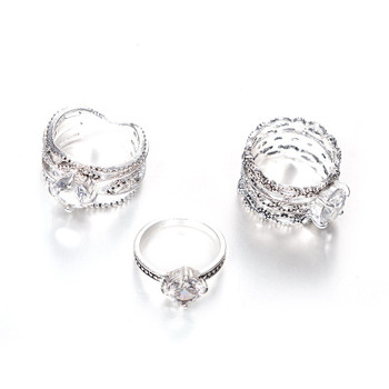 3pcs Big Cubic Zircon Wedding Knuckle Rings for Women Silver Color Crystal Finger Ring Set