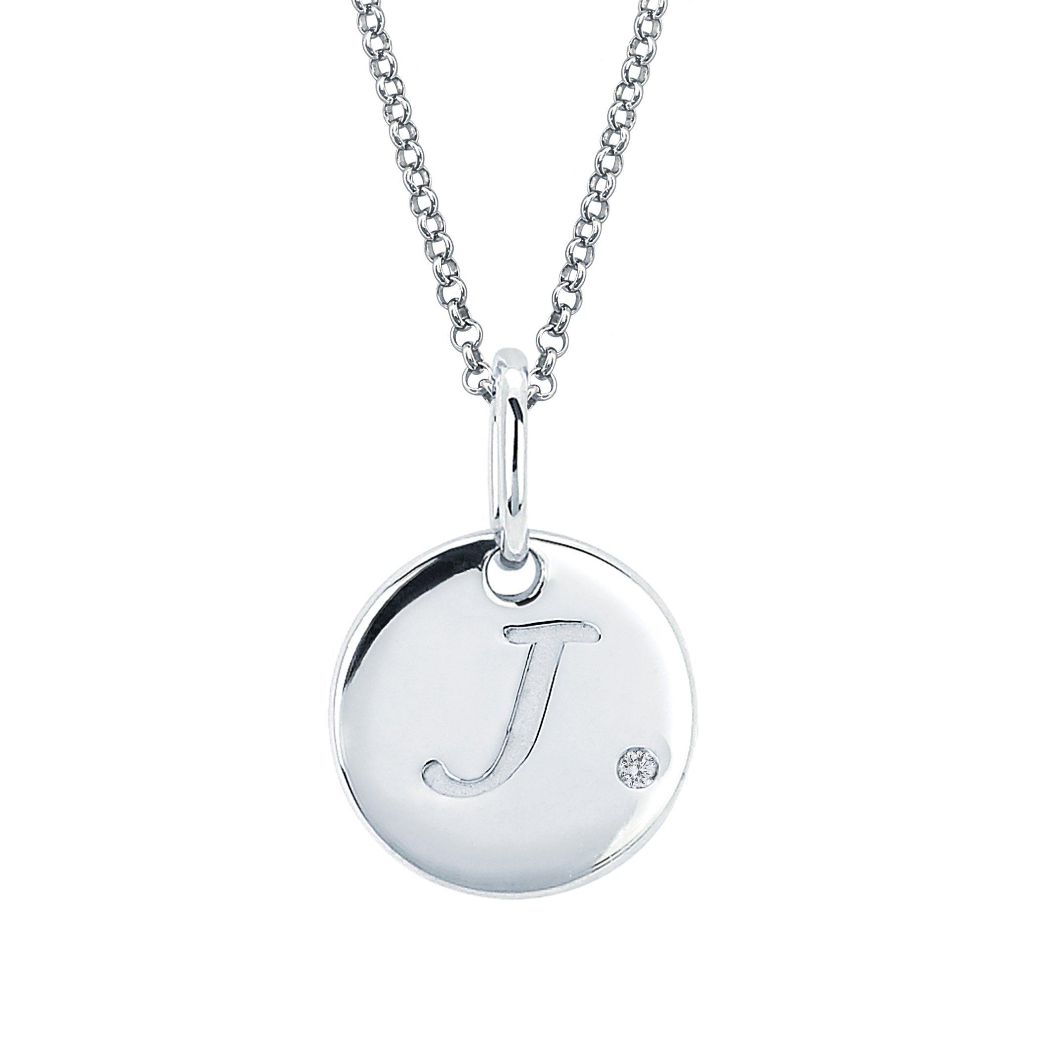 "Little Diva Diamonds 925 Sterling Silver .01 Cttw. Diamond Accent Disc Initial Pendant Necklace 16"" Chain Girls"