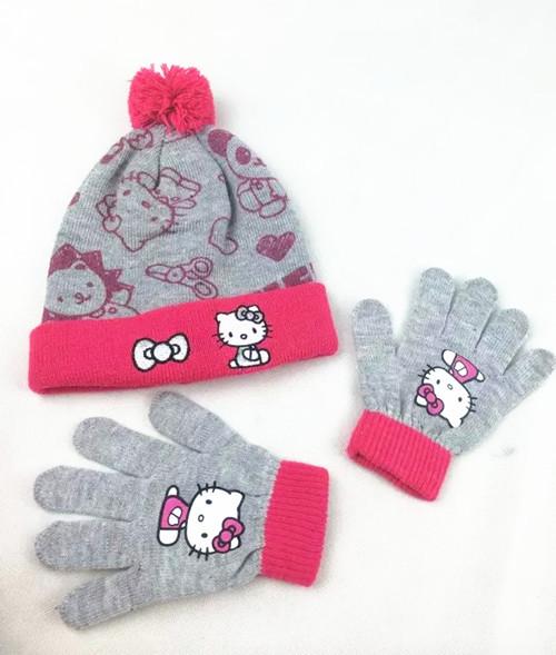 b0e7ec53fb2 Get Quotations · 1set 2016 winter children hat+gloves Hello Kitty hat set    Children s cartoon knitting hat
