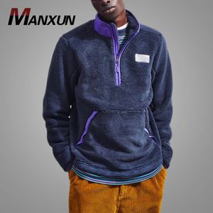 Half Zip Purple Custom Logo 2018 Sherpa Oversized Hoodie for Men Stand Collar Thicker Mens Pullover