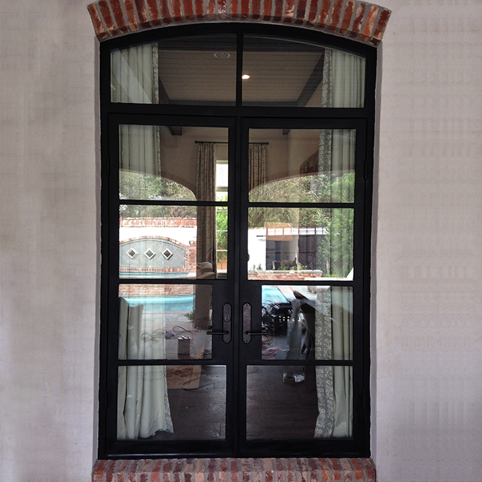 Custom colored oval glass exterior entry wrought iron glass door half moon glass doors