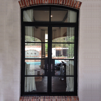Custom Colored Oval Glass Exterior Entry Wrought Iron Glass Door
