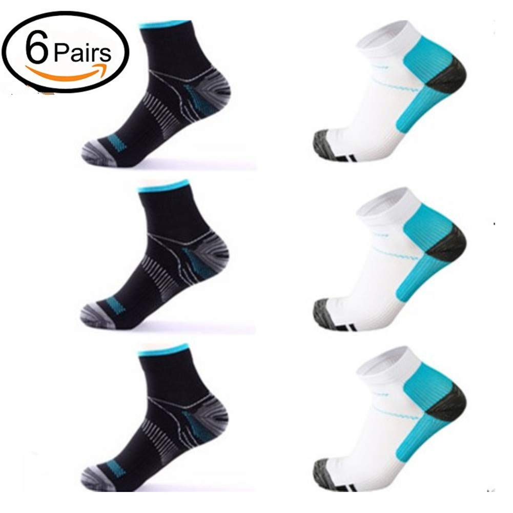 49e73dfef8 Get Quotations · 6 Pairs Medical&Althetic Compression Socks for Men Women,  15-20 mmHg Nursing Plantar Fasciitis