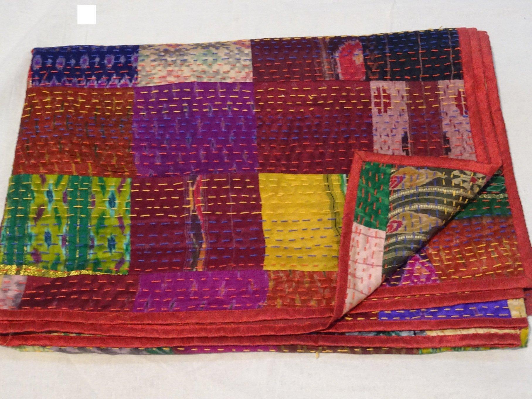 Tribal Asian Textiles Indian Quilt -Twin Vintage Quilt Old Patola Indian Silk Sari Kantha Quilted Patchwork Bedspread Bohemian Kantha Throws, Gudari Handmade