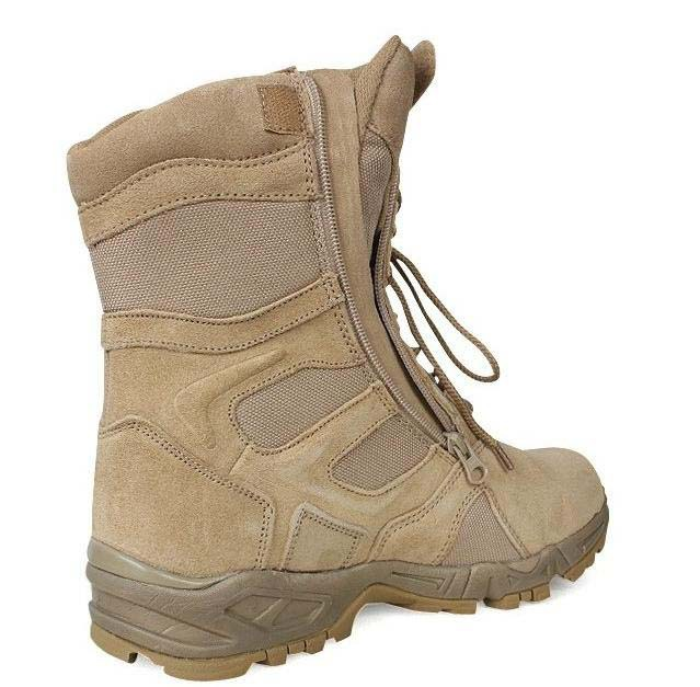 2f456ae1e701 Men s Side Zip Classic Lace Up Military Desert Tan Tactical Combat Boots  Shoes