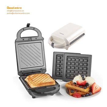 grill and waffle maker with detachable popcake and cupcake snack plate