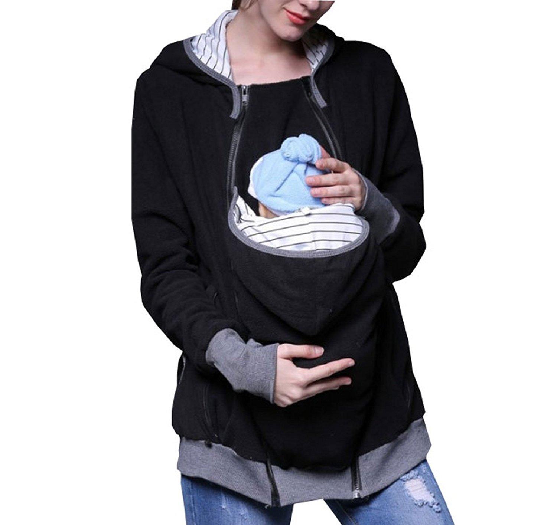 7eb575bba38c9 Get Quotations · LANMWORN Women's Maternity Kangaroo Hoodie For Baby  Wearing Carrier Holder Sweatshirt