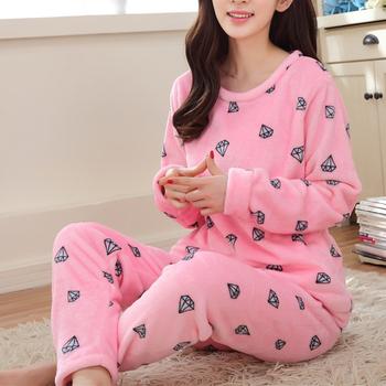 Wholesale Flannel Pyjamas Winter For Women Long Sleeve Cartoon Printed Sleepwear  Pajama Sets Cute Home Clothes 00413fc5dba5