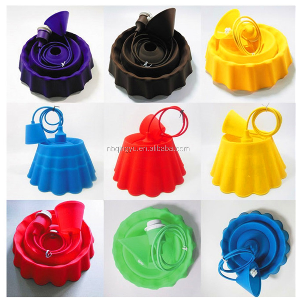 Colored Cord Silicone Pendant Lamp With E27 Screw Lamp Holder