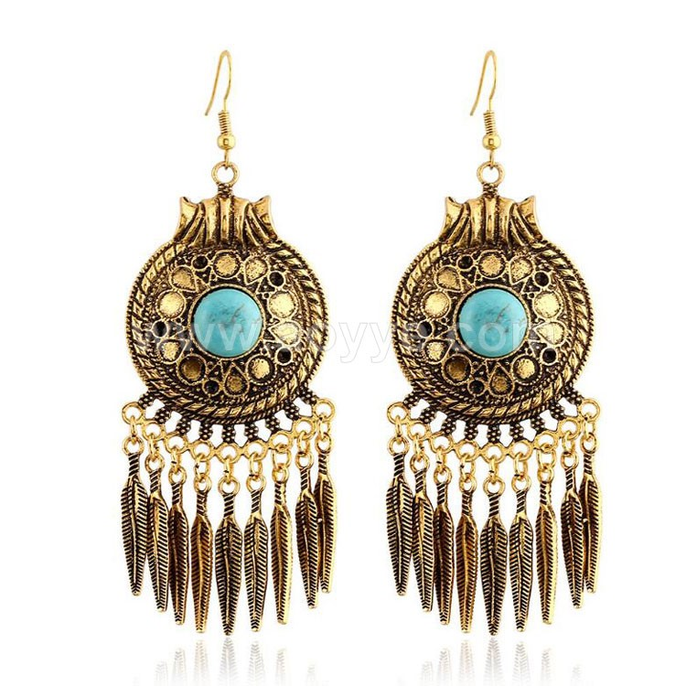 Hot style Bohemian turquoise feathers fashion vintage leaves tassel earrings