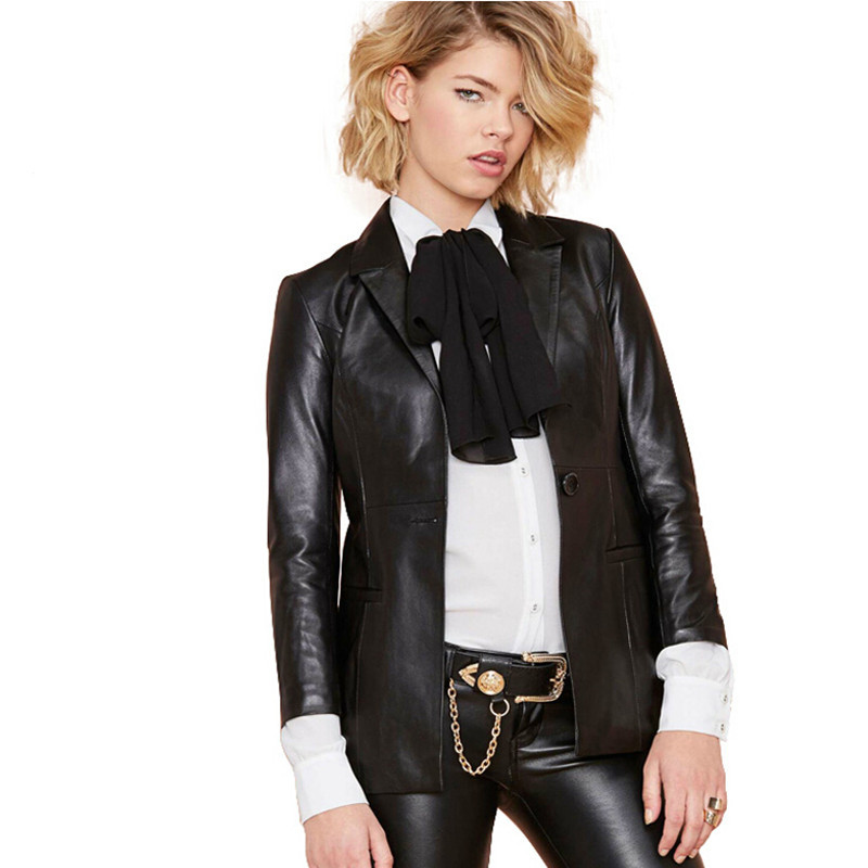 XS-XXL Autumn Casual Women's European and American Slim Split PU Leather  Black Long-sleeved Leather Clothing Brand Style