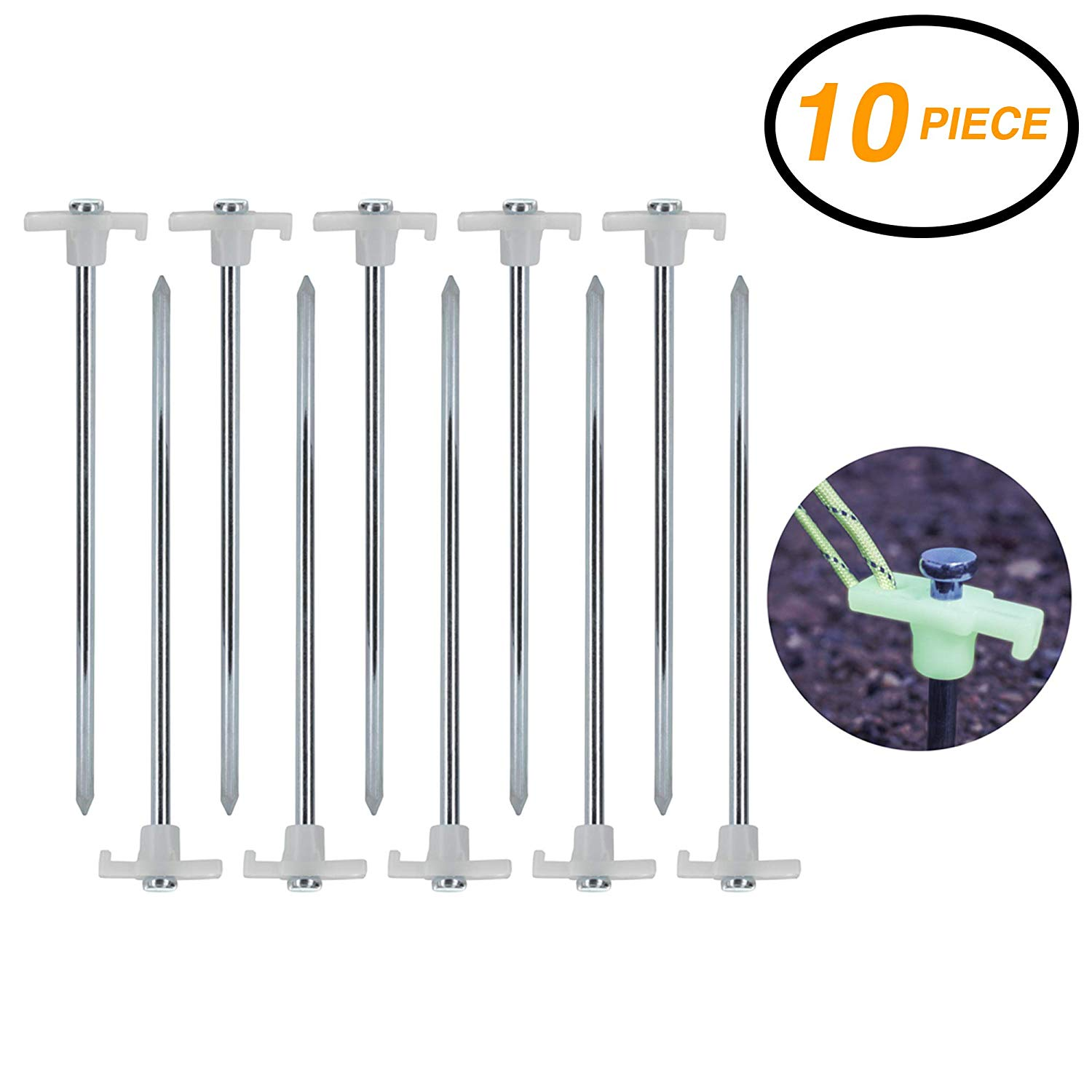 Black AVESON Pack of 4 Burly Solid Forged Steel Camping Tent Stakes Heavy Duty Tent Pegs with Nylon Pouch