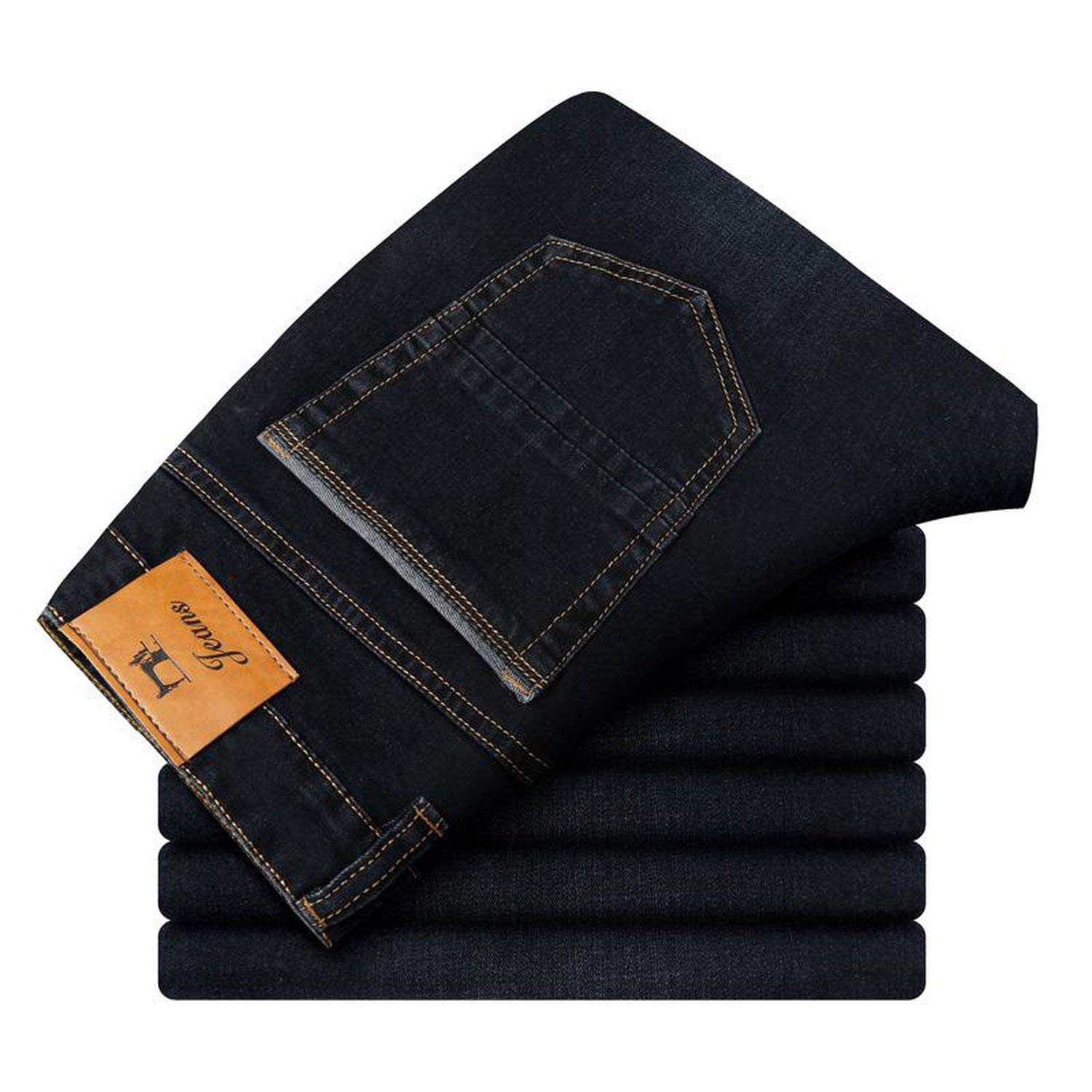 Memoriesed 2018 Autumn Winter Mens Stretch Jeans Casual Fit Loose Relax Denim Trousers Pants