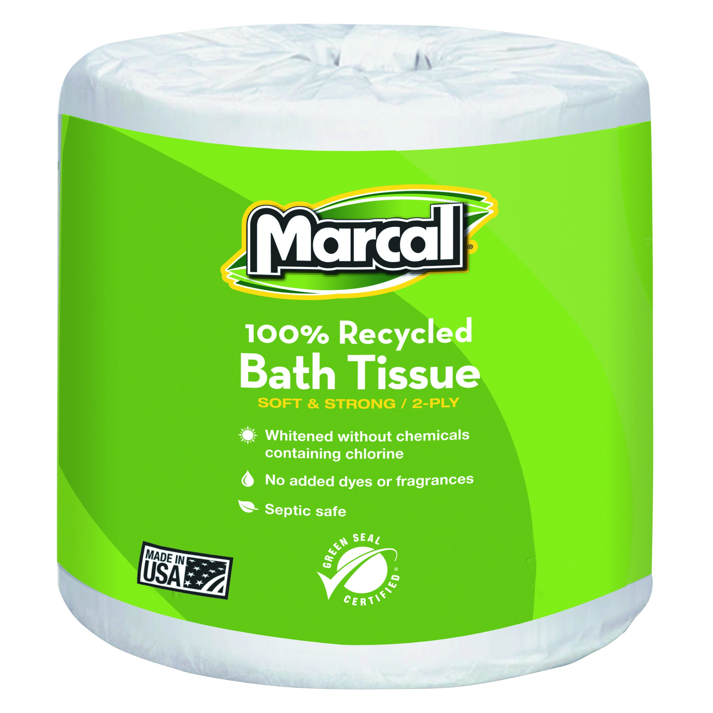 Marcal Toilet Paper 100% Recycled - 2 Ply White Bath Tissue, 336 Sheets Per Roll - 48 Rolls per Case Green Seal Certified Toilet Paper 06079