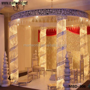 2019 Decorative crystal lighted mandap with led light,crystal wedding backdrop(MBD-006)