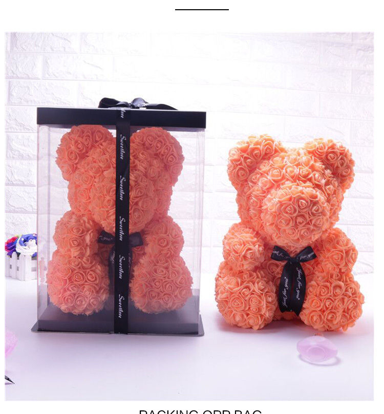 JIJU  Hot Popular Sales Custom Wedding Gift Artificial Preserved Rose Bear 40cm Rose Teddy Bear