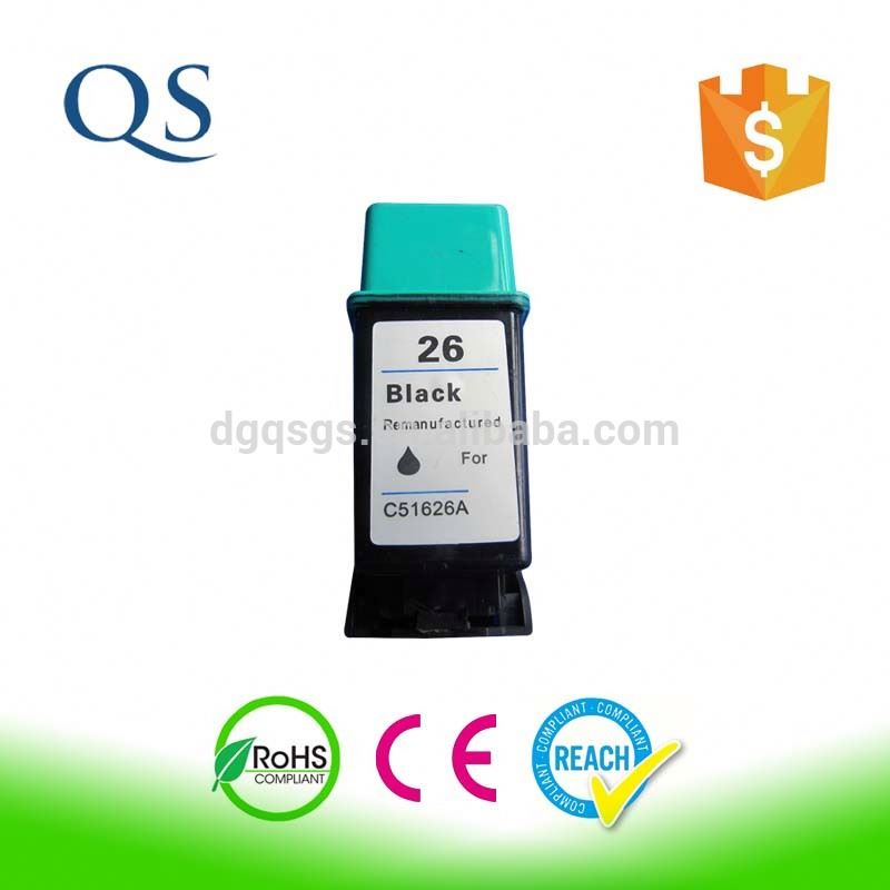remanufactured black ink cartridge for hp26 (51626a)