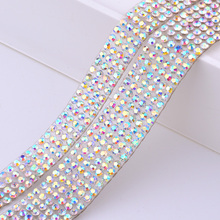 5 Yard <span class=keywords><strong>Hotfix</strong></span> Crystal AB Rhinestone Chain Lint Glas Kristal Stof Trim Strass Mesh Banding Stenen Applique Voor Jurk Ambachten