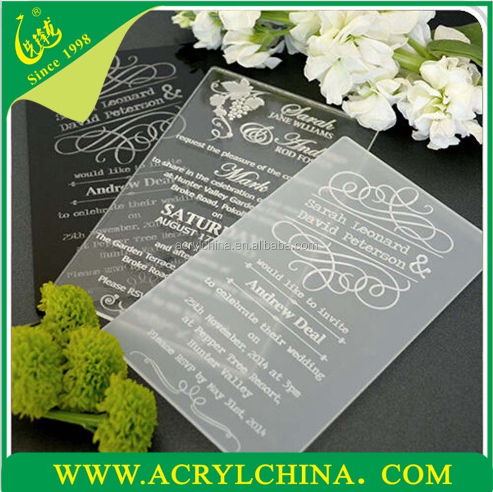 acrylic wedding invitations clear acrylic wedding invitations with engraving black or 1208