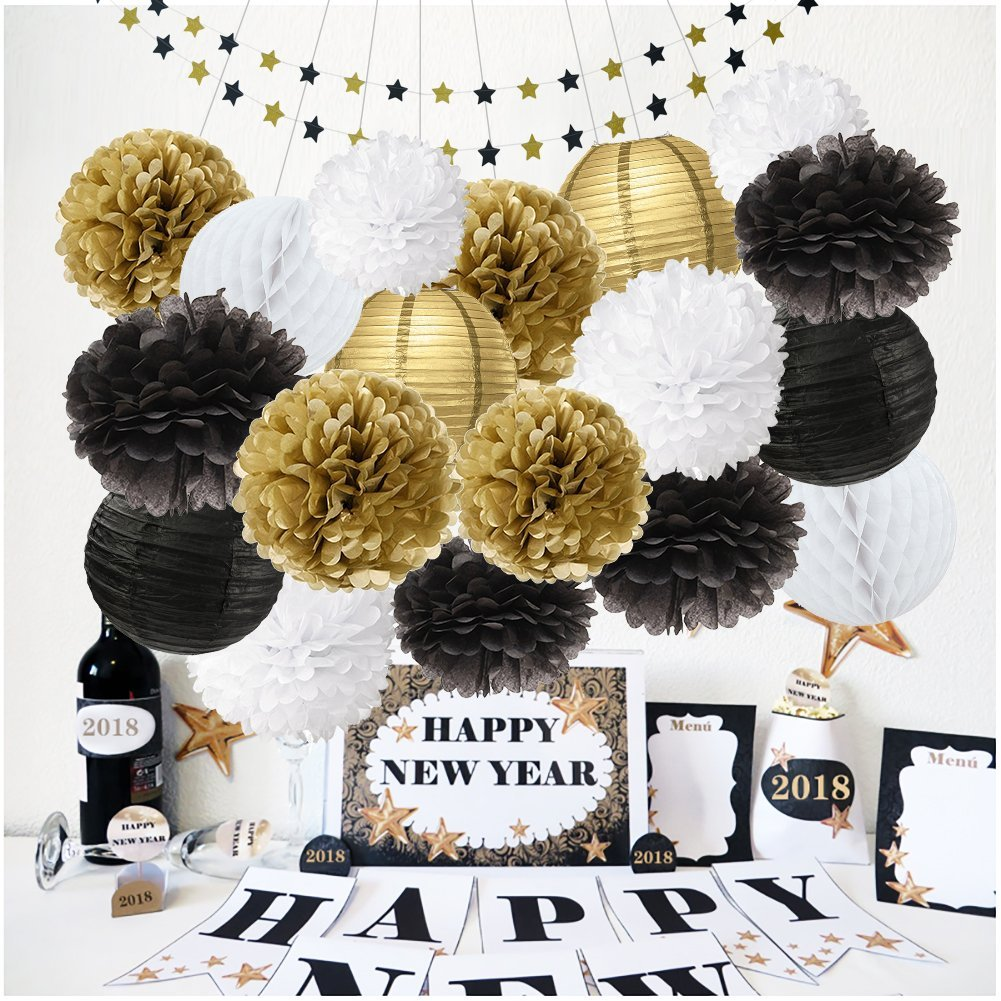 Get Quotations Black And Gold Party Decorations Glitter Paper Star Garland White Tissue