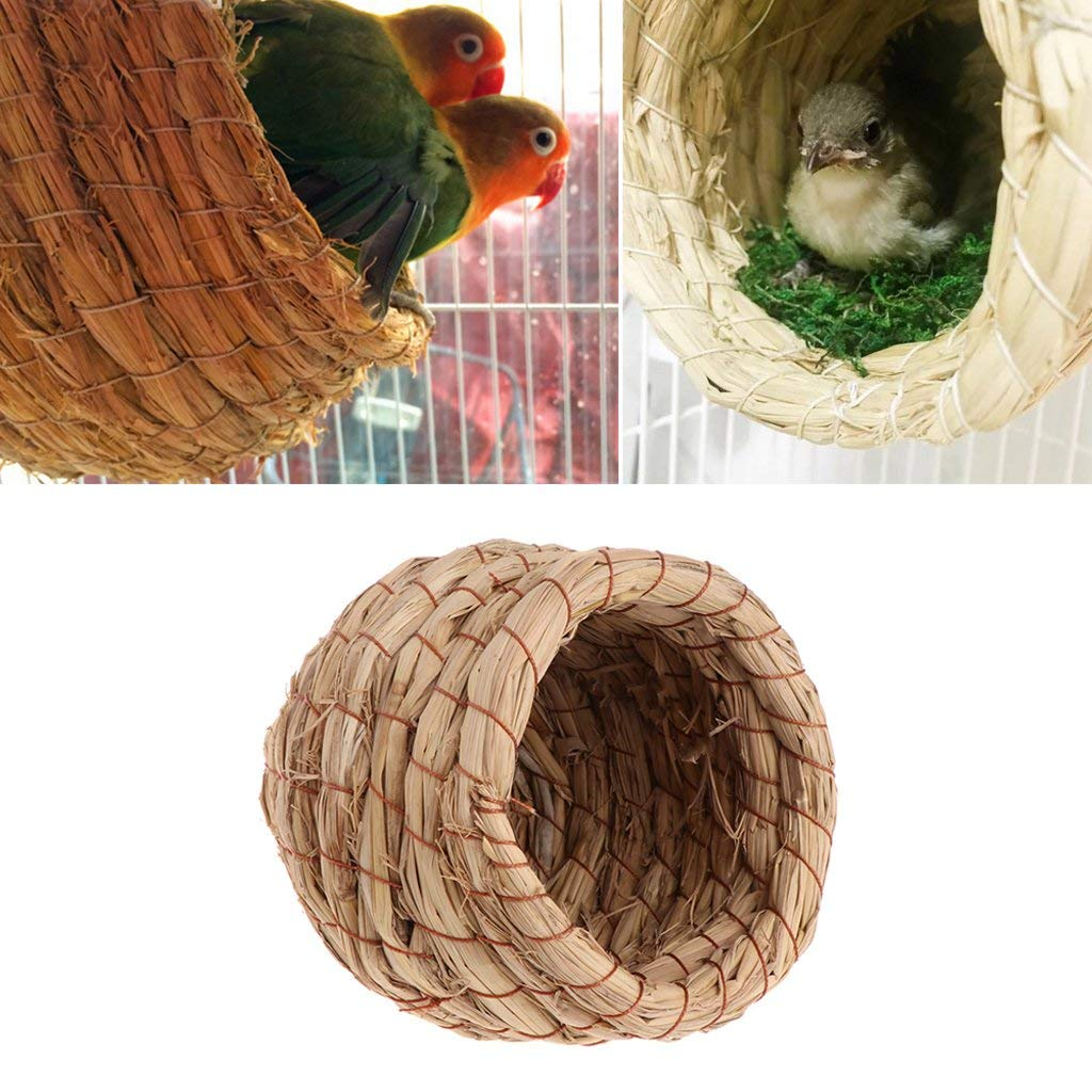 Misright Bird Nest Woven Natural Straw Parrots Pigeon Swallow Small House Cage Handmade