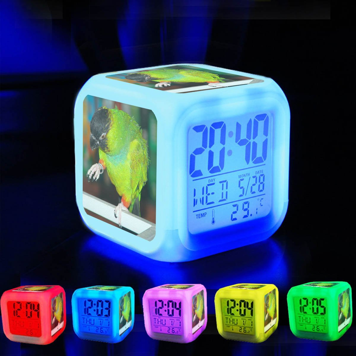 Alarm Clock 7 LED Color Changing Wake Up Bedroom with Data and Temperature Display (Changable Color) Customize the pattern-242.Nandayus nenday -pet -front-8a
