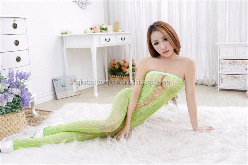 New color sexy chest wrapped cross-piece leotard netting fishnet transparent bodystockings