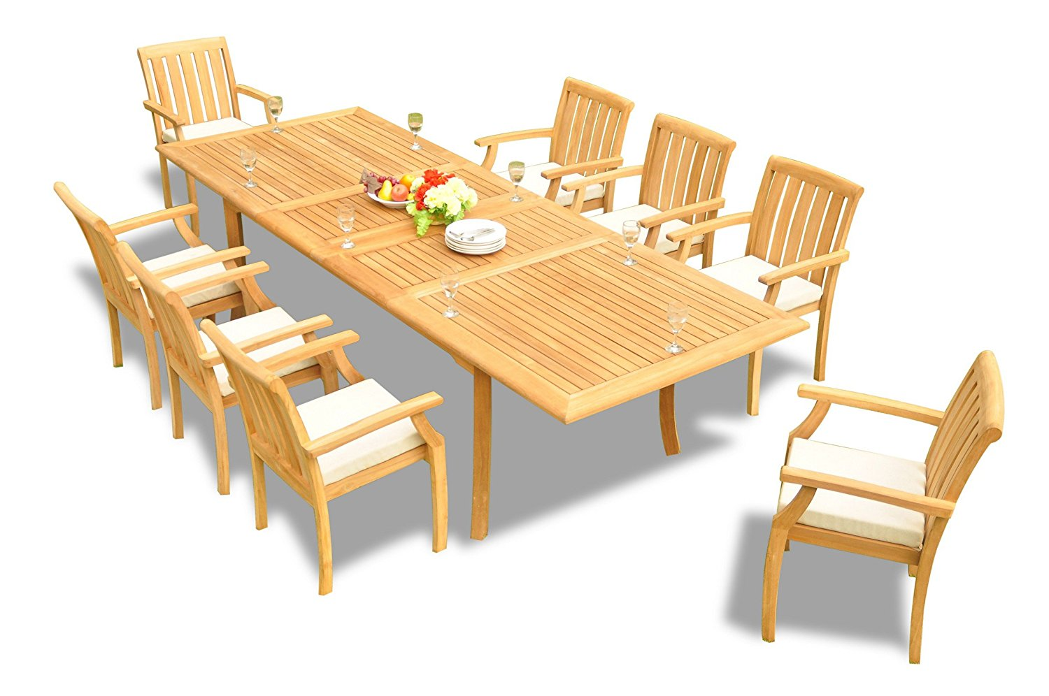 """TeakStation 8 Seater Grade-A Teak Wood 9 Pc Dining Set: 117"""" Double Extensions Rectangle Dining Table and 8 Somerset Stacking Arm / Captain Chairs #TSDSSS1"""