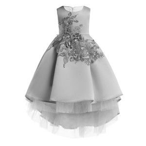 2019 latest designs western kids princess pageant wedding birthday pink grey formal party flower girl dresses