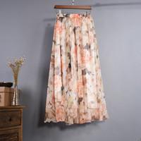 VVY04 2016 Top Selling Fashion Woman Flower Print Long Maxi Skirt Bohemian Skirt