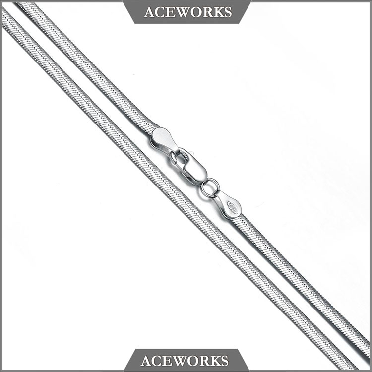 NC1822 Aceworks Top Fashion Silver Jewelry 18 inch mens 925 sterling silver flat omegachain for men DIY mens chain