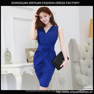 office lady work elegant pencil dress business women satin wrap dress