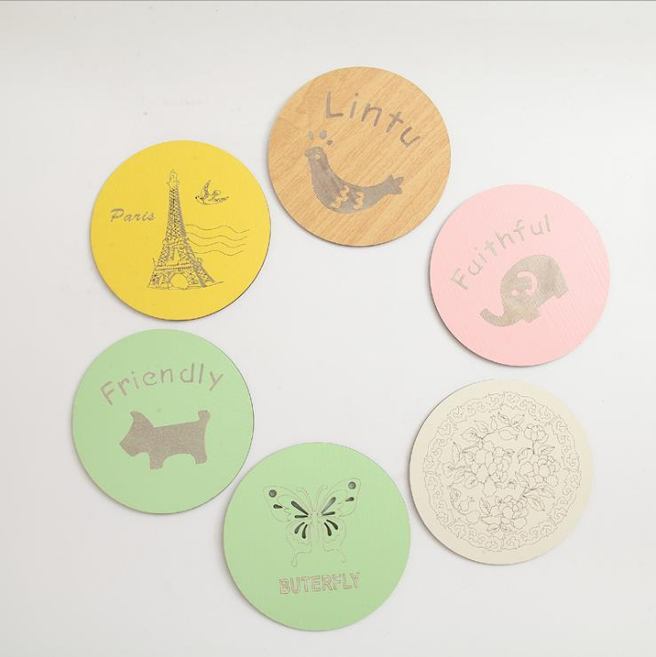 Promotional 100% Natural Bamboo Coaster,Set of 6 with Holder Trademark Innovations