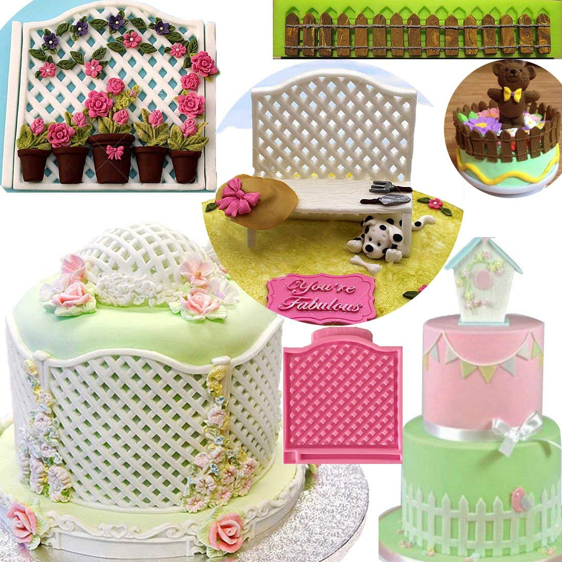 Anyana long Fence Posts mold Garden Trellis Baking Molds forest party animal Silicone Fondant molds Cake Decorating Tools Gumpaste cupcake decorations resin Clay Chocolate Candy Moulds Non stick