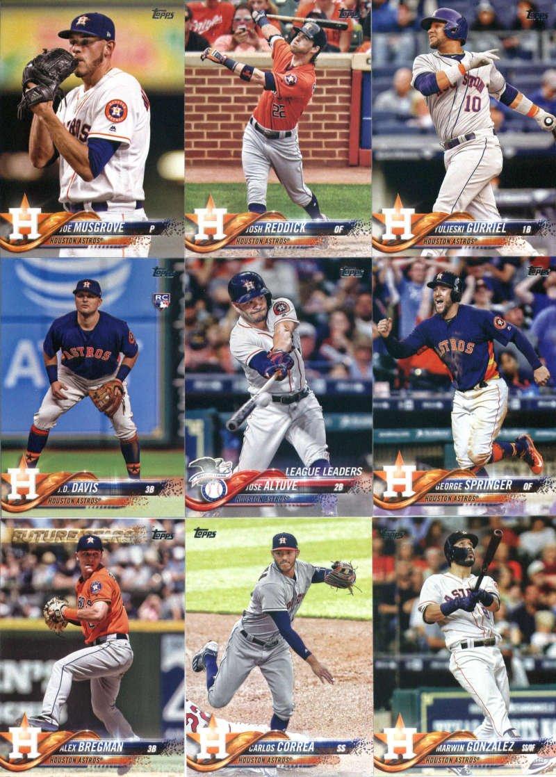 2018 Topps Houston Astros Team Set of 16 Baseball Cards (Series 1): Carlos Correa(#30), Alex Bregman(#39), Jake Marisnick(#128), George Springer(#154), Alex Bregman(#182), Mike Fiers(#184), Lance McCullers(#212), Marwin Gonzalez(#215), George Springer(#275), Jose Altuve(#294), All Smiles Lift off