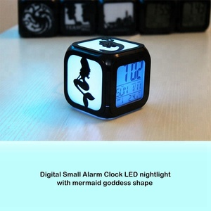 Digital Small Alarm Clock LED Night Light Electronic Clock with creative shape of mermaid goddess