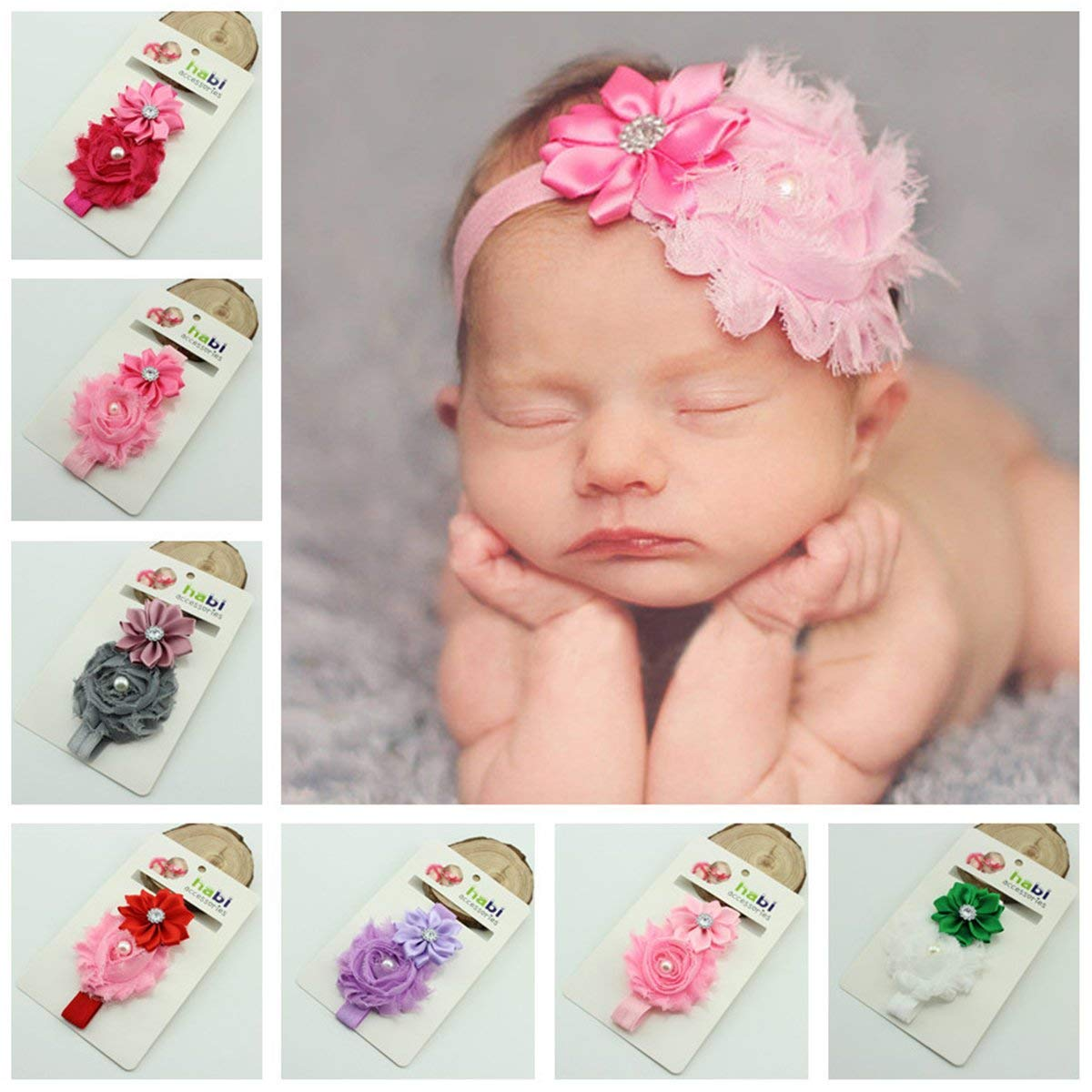 10 Colors Cute Infant Baby Girls Sweet Flower & Pearl Decor Elastic Headband Hair Band Hair Accessories Photo Props