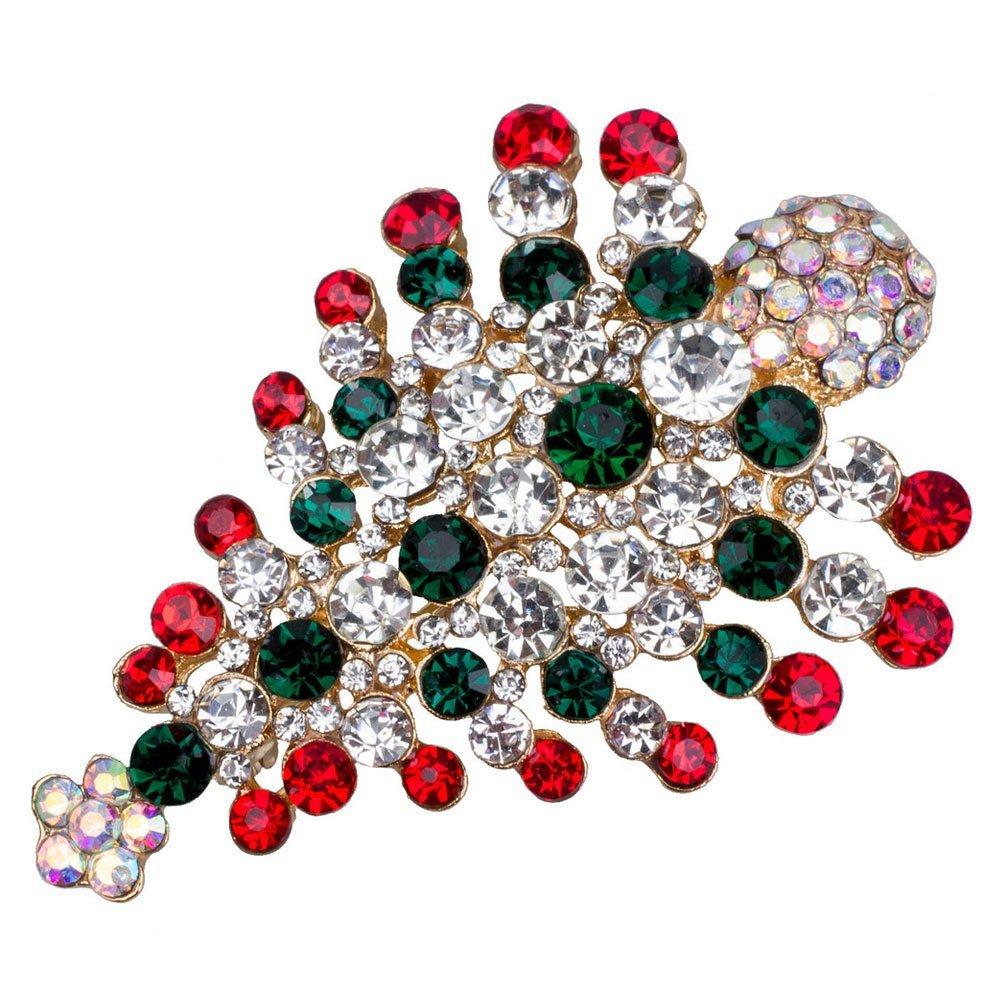 GogoForward Multi-Colored Crystal Christmas Tree Brooch Pin Christmas Gift ED