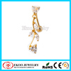 Leaves Gold Plated Belly Button Sexy Women top down navel piercing reverse Navel Piercing Stud