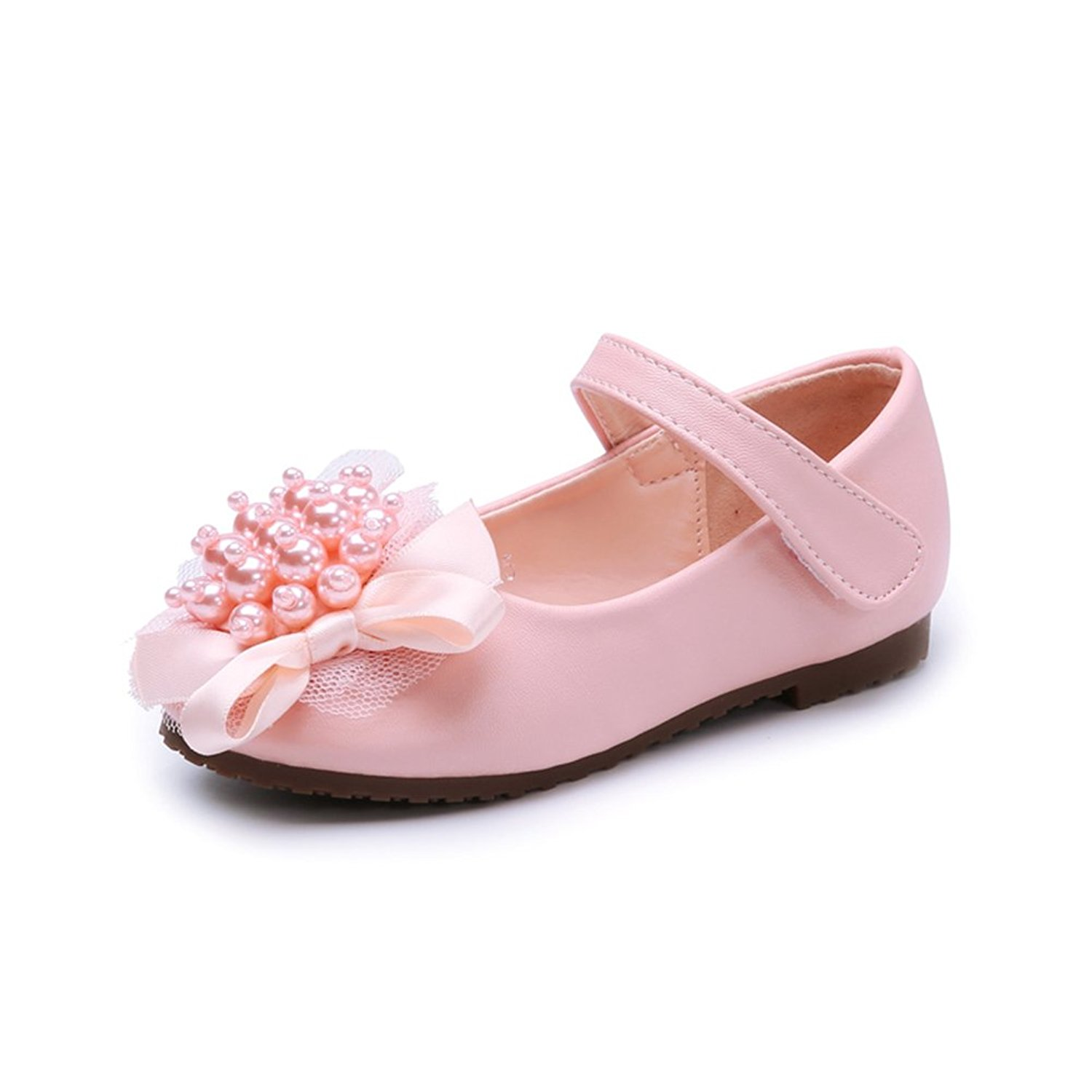 Veribuy Toddlers/Little Girls/Big Girls Pearl Flower Dress Shoes Flat Princess Shoes Wedding Shoes
