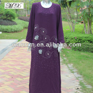 2014 new arrival fashion purple abaya ajman with hot drilling for islamic