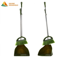 Wholesale household cleaning aluminium handle plastic broom and dustpan set