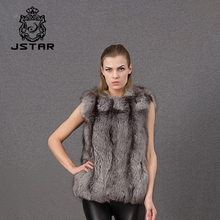 Fashion Leisure New Design Elegant Sleeveless Vests Winter Real Fox Fur Vest