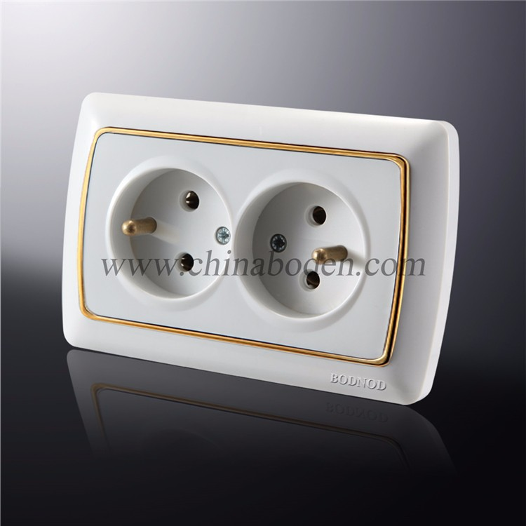 Best Sale Energy Saving Power double french wall socket plug